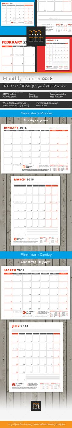 Monthly Planner 2018 | Planners, Template and Calendar 2018