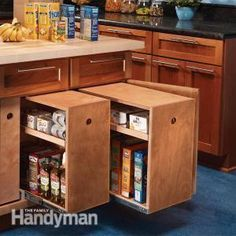 DIY:  Lower Cabinet Rollouts For Kitchen Storage - tutorial shows how to build rollouts for increased storage.