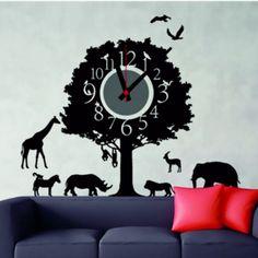 Black Wall Stickers, Wall Stickers Animals, Diy Wall Stickers, Removable Wall Stickers, Wall Clock Sticker, Mirror Wall Clock, Wall Clocks, Wall Clock Online, Cartoon Wall
