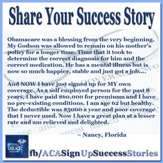 Nancy and her family in Florida are finding peace of mind, and big savings since her preexisting condition is no longer an issue.  @OFATruthTeam Fight the negativity. #GetCovered #GetTalking about #YourStory. Join us, Share, Tell your friends. The time is NOW.  http://facebook.com/ACASignupSuccessStories http://twitter.com/ACASuccessStory #WhiteHouse #BarackObama #ACA