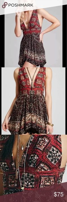 """Free People """"Heat Wave"""" tunic / mini X/S NWT Free People """"heat wave"""" top/ tunic / mini So adorable I never got a chance to wear perfect for festivals/ concerts / beach tie up Free People Dresses Mini"""