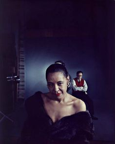 Billie Holiday photographed with arranger Ray Ellis in March 1958.