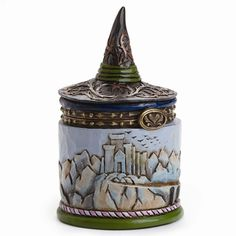 - Hinged Opening - Stone Resin - Gift Boxed - Jim Shore Collection - 3 in H x 1.75 in W x 1.75 in L - Hand Painted