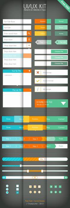 UI/UX Flat design - Free PSD by Julie Champourlier