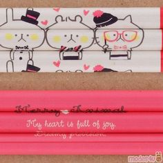 red lead shiny pink cream pencil with cute bear rabbit cat by Kamio Wooden Pencils, Japanese Stationery, Pink Animals, Red Led, Cute Bears, Cute Designs, Utensils, Colored Pencils, Red Color