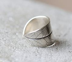 Leaf ring, silver willow leaf open adjustable in sizes 4-6. Sterling silver wide chunky ring.