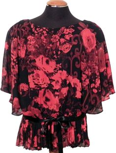 Womens Top Special Occasion NWT Plus Size 20W Red Black Floral Dolman Sleeves    #ConnectedApparel #Blouse #EveningOccasion