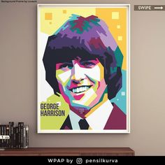 """George Harrison was an English musician, singer-songwriter, and music and film producer who achieved international fame as the lead guitarist ofthe Beatles. Sometimes called """"the quiet Beatle"""", Harrison embraced Indian culture and helped broaden the scope ofpopular musicthrough his incorporation of Indian instrumentation andHindu-aligned spirituality in the Beatles' work. . Art by @pensilkurva  #stayhome . . . . . . . . #gift #commissionsopen #hadiah #corel  #fun #vectorface #indonesia @vxvi Pop Art Face, George Harrison, Popular Music, Poster Prints, Cartoon, Abstract, Drawings, Colorful, Metal"""