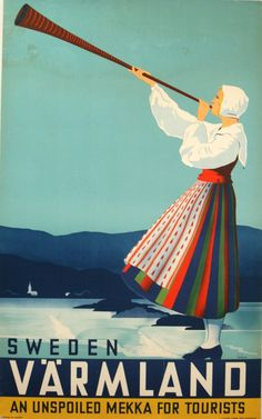 Vintage 1936 Sweden Swedish Travel Tourism Poster Re-Print Wall Decor… Old Poster, Poster Retro, Poster Ads, Advertising Poster, Vintage Travel Posters, Print Poster, Vintage Advertisements, Vintage Ads, Vintage Graphic