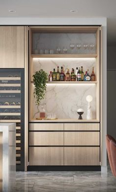 Good contrast to the table, integrated shelf lighting, integrated wine column. Don't need the pocket doors. Modern Kitchen Design, Interior Design Kitchen, Modern Home Bar Designs, New Kitchen, Kitchen Decor, Küchen Design, House Design, Bulthaup Kitchen, Bars For Home