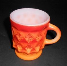 Vintage Mug, Fire King, Orange, Anchor Hocking, Kimberly Pattern, Coffee Cup, Coffee Mug, Milk Glass, Stacking, Retro Mug by TheBackShak on Etsy
