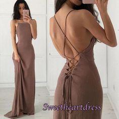 Backless prom dress, chiffon prom dress, long prom dress with straps