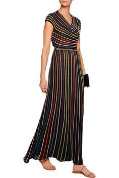 fa51fc0141a5 Striped metallic cutout crochet-knit maxi dress