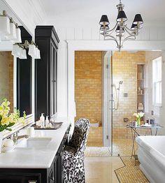 Adding an elegant hanging light fixture brings drama and elegance to your bathroom. More lighting tips: http://www.bhg.com/home-improvement/lighting/planning/bathroom-lighting-ideas/?socsrc=bhgpin121213tasklighting&page=9