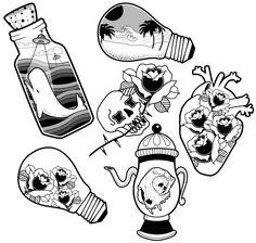 Traditional Tattoo Flash Art Print by rbettz - X-Small - Traditional Tattoo Flash Art Print by rbettz – X-Small - Flash Art Tattoos, Tattoo Flash Sheet, Body Art Tattoos, Small Tattoos, Leg Tattoos, Traditional Tattoo Flash Art, Small Traditional Tattoo, Traditional Flash, American Traditional