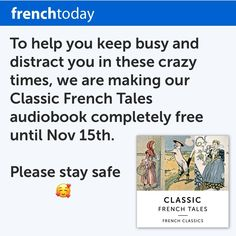 Last Chance to get my Classic French Tales audiobook for free! Fairy tales have been used for centuries to build up children's vocabulary and teach French verb tenses, pronouns, linking words… Each tale comes with a French transcript and English translation. #learnfrench #freefrench #instafrench #fairytales #frenchtales #contesdefees #frenchaudiobook #frenchaudio #frenchforkids