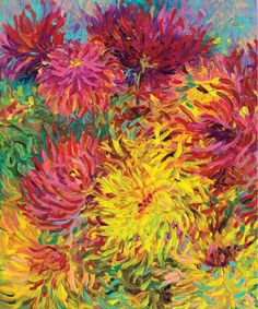 """Beautiful! """"Dahlias"""" by Iris Scott, who shares advice for mixing colors at ArtistsNetwork.com. From """"Painted Blossoms"""" by Carrie Schmitt #mixedmedia #flowers #floral #art #painting #pretty"""