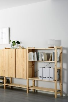 The IKEA IVAR 3-section shelving unit with cabinets is made of untreated solid pine, a durable natural material. You can personalize the furniture even more by staining or painting it your favorite color, or by moving the shelves to adapt spacing to suit your needs.