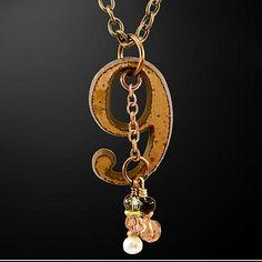 "OOAK Davison ""No. 9"" Brass and Gemstones Pendant Necklace handcrafted artisan jewelry on Ruby Lane"