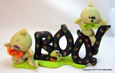 OOAK Polymer Clay Boo with Ghosts that Glow In by CanterberryTails