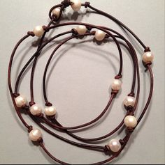 Long leather fresh water pearl necklace by Jewlsandpearls on Etsy, $17.99