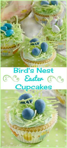 Bird's Nest cupcakes topped with malted candy eggs and edible grass are perfect for a quick and easy Easter or spring dessert!
