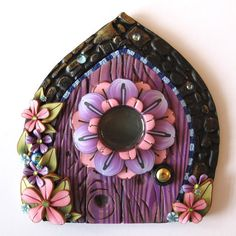 Flower Fairy Door Pixie Portal Fairy Garden Door by Claybykim