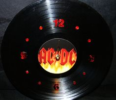 AC/DC Red Flames Vinyl Record Wall Clock by PandorasRecordArt, $25.00