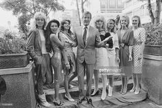 English actor Roger Moore posed with Bond girls Joni Flynn, Janine. Roger Moore, Bond Girls, James Bond, Poses, Actors, Film, Celebrities, June, Mary