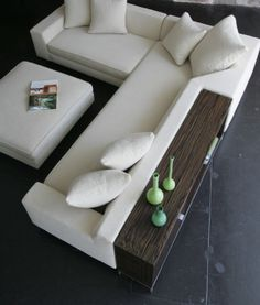 couch with shelf