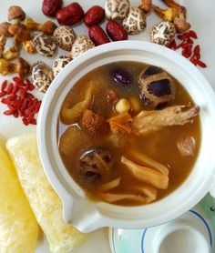 Ingredients : 1 to 2 dried abalone slices 2 to 4 dried scallops 5 to 8 pcs dried shitake mushroom 5 to 8 pcs brazil mushrooms (巴西菇). Chinese Soup Recipes, Asian Recipes, Chinese New Year Dishes, Chinese Food, Abalone Recipe, Herbal Chicken Soup, Dried Scallops, Mushroom Soup, Dim Sum