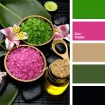 Green & pink - This bright palette will be very useful in the design of bath and spa area somewhere in a country house. Very convenient, because with it you can plunge into the exotic world. Palettes Color, Colour Pallette, Colour Schemes, Color Combos, Color Patterns, Color Blending, Color Mixing, Color Balance, Design Seeds