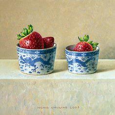Aardbeien in Chinese bakjes 2006 (15 x 15 cm)