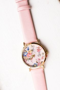 So pretty. I want one! Pink Floral Print Pastel Watch Pastel by JadoreLexieCouture, $38.00