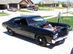 1971 chevelle. I also traded my knock off Z06 wheels for a set of C5 speedlines. One reason I traded was the 275/40/18 on a 10.5 wide wheel up front was a very tight fit. It would have worked if I did not run front wheel wells but I plan on doing so. corvette