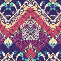 Africal Blue Red Dotted Pattern