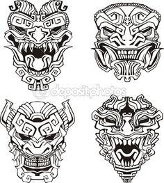 Aztec monster totem masks — Stock Illustration #16646499
