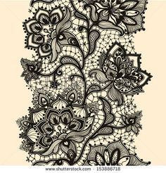 Abstract lace ribbon seamless pattern with elements flowers. Template frame design for card. Lace Doily. Can be used for packaging, invitati...