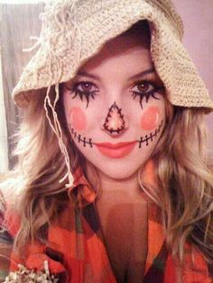 Halloween DIY Party Make-Up and Burlap Hat #scarecrow #costume #makeup