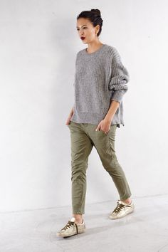 Ashley in Closed Pullover with Crippen Trouser and Golden Goose Sneaker   shopheist.com