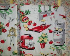 Fabric Retro Vintage Fifties 50 S Kitchen Appliances Egg