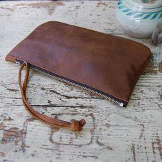 Leather Clutch Bag / Leather Zipper Wristlet / Handmade Clutch Purse / Leather Clutch Bag