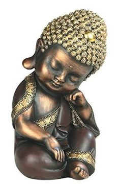 StealStreet SS-G-88173 Yellow and Brown Thinking Baby Buddha Religious Decorative Figurine