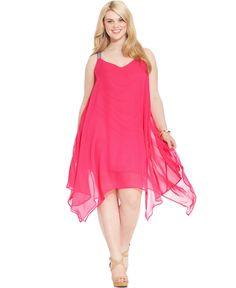 Love Squared Plus Size Handkerchief-Hem Chiffon Dress soooooo pretty so wear it :) Plus Size Cocktail Dresses, Plus Size Dresses, Plus Size Outfits, Plus Zise, Mode Plus, Curvy Women Fashion, Plus Size Fashion, Girl Fashion, Ladies Fashion