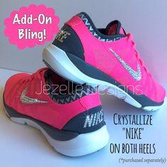 Bling Nike Roshe Run Glitter Kicks - Blinged Nikes, Bling Shoes, Blinged  out Nikes, Glitter Shoes Black White by ShopGlitterKicks on Etsy https://w…