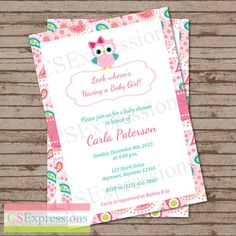 Paisley Owl Baby Shower Invitation by CSExpressions on Etsy, $12.00