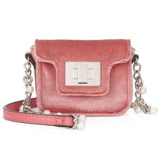 SO® Velvet Simulated Pearl Chain Mini Crossbody Bag, Women's, Light Pink