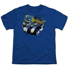 Batman Batmobile Royal Blue Youth T-Shirt