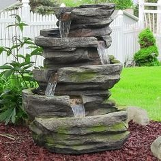 Sunnydaze Electric Lighted Cobblestone Waterfall Fountain with LED Lights, 31 In   Overstock.com Shopping - The Best Deals on Outdoor Fountains