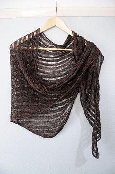 Summer Shawl Knitting Pattern : Ruffle Edge Shawl knit in a lustrous viscose & linen yarn. Imagine the dr...